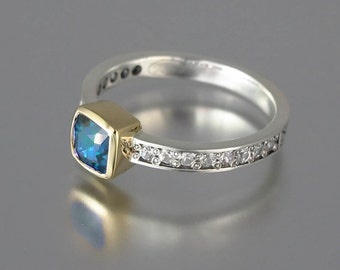 DAPHNE 14k gold ring with Swiss Blue Topaz