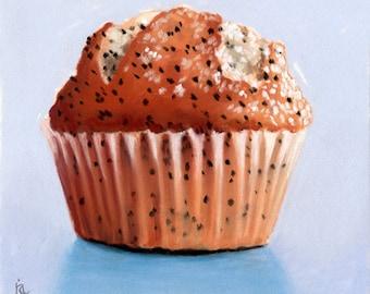 Lemom Poppyseed muffin pastel painting