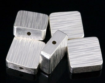 KV-057 thai karen hill tribe handmade silver 3 line hammered scratch cylinder square shaped bead