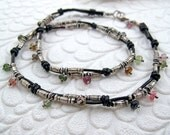 Knotted Leather Choker with Silver and Tourmaline