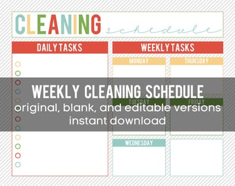 Printable Weekly Cleaning Schedule - editable and INSTANT DOWNLOAD