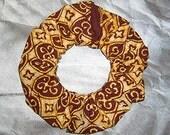 Earth Elemental Batik Hair Scrunchie, Tribal Hair Tie, Earth Spirit Ponytail Holder, Adult Large Style