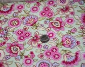 European Floral fabric - Pink flowers on light green background