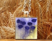 Art Pendant -- Watercolor Painting: Watercolor Flowers - Purple Flowers -- Misunderstood -- 1 inch square -- Silver