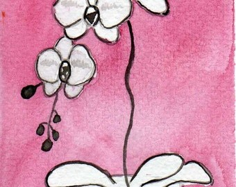 Watercolor Painting: Watercolor Flower Painting -- Mini Art Print -- Pink Orchids -- ACEO Print