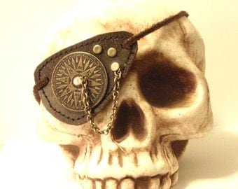 Leather Steampunk Compass Cosplay Costume Eye Patch by Darkwear Clothing