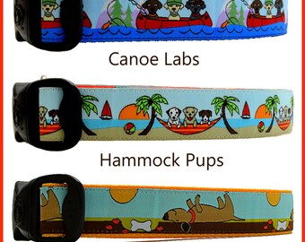 Labrador Retriever Dog Collars, Canoe Dog Collars, Summer Dog Collars, Bone Dog Collars, Palm Tree Dog collars, Wilderness Dog Collars