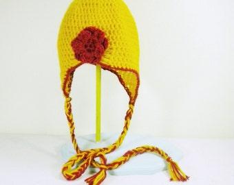 Crochet Flapper Hat with Earflaps and Braids in Yellow - crochet winter hats for women - crochet winter hats for girls - snowboarding hats