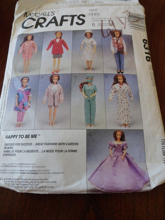 Mccalls 6316 Barbie Happy To Be Me Doll Clothes Pattern