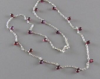 TINY Garnet Briolette Necklace Sterling Silver Chain DJStrang Boho Cottage Chic Tiny Red Gemstone