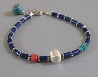 Lapis Lazuli Turquoise Coral Bracelet Sterling Silver Bead DJStrang Boho Southwestern Cottage Chic