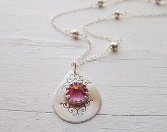 As Seen on The Vampire Diaries Season 5 Premiere! Blush Topaz Ornate Spike Necklace Caroline Forbes The Vampire Diaries Jewelry TVD Necklace