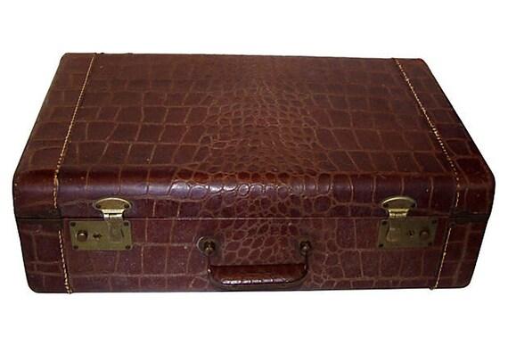 Luggage Faux Alligator Suitcase Train Case.