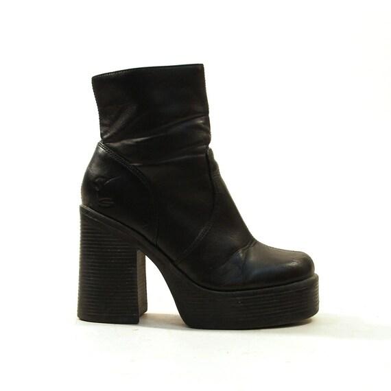 90s Chunky Platform Ankle Boots Black Women S Sz 7 5