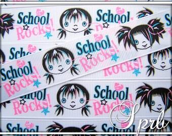 "sale SPRB 7/8"" Punk Girls School Rocks BTS Back to School Grosgrain Ribbon-5 yards"