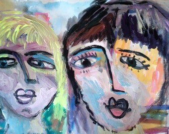 """Original painting, """"Happy Sisters"""", acrylic on archival paper, colorful, naive"""