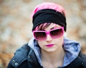 HeadBand - Cowl - Hair Wrap - Hair Tube - Solid Black Head Hugger