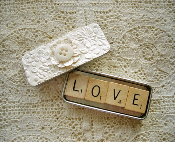 Wedding Favor Scrabble Magnets in Shabby Cream Ivory Decorated Slide Tin