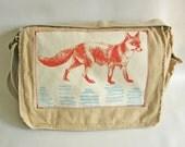 Fox Messenger Bag--Applique-Screen Printed Cotton Canvas-Gift for Women or Men- Orange, Turquoise Ink