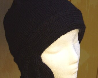 Knit Black Cloche, hat cap cloche women 20s flapper black
