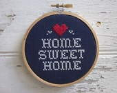 do it yourself x-stitch pattern and materials kit (home sweet home) blue OR red background fabric