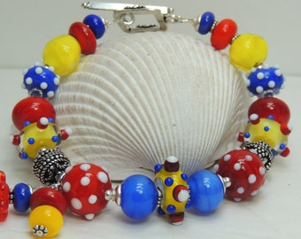PLAYFUL Handmade Lampwork Bead Bracelet