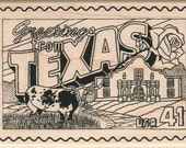 rubber stamps Greetings From Texas  cling stamp, unmounted or wood mounted  14937 Illinois