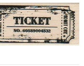 Admit One Ticket  rubber stamp     19190   toys carnival game ticket