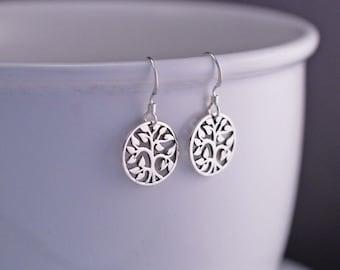 Tree Earrings, Tree of Life Earrings, Sterling Silver Tree Dangle Earrings, Family Tree