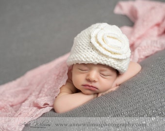 Knit Baby Hat, Newborn Baby Girl Hat, Infant Baby Girl Hats, Baby Hats for Girls, Knit Newborn Hat, Baby Girl Hats with Flowers