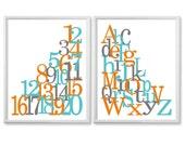 Alphabet Art Nursery Prints, Kids Wall Art, Teal Orange Nursery, Nursery Wall Art, Playroom Art, Abc Print Set, Abc Wall Art 8x10