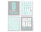 Personalized Kids Wall Art - Dream Big Little One, Alphabet Poster, Birds Theme Prints - 8x10 or 11x14 Set, Aqua and Grey Nursery Pictures