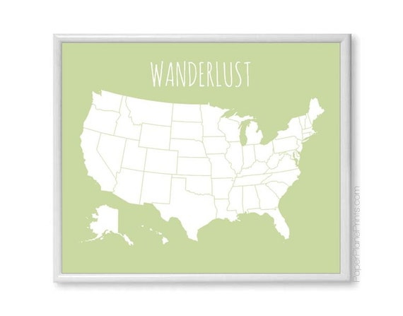 Large US Map Poster Modern Travel Map With by PaperPlanePrints