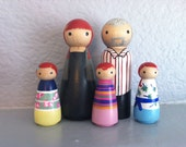 Custom Peg Doll Family of 6 - Peg People painted to match your photo or descriptions