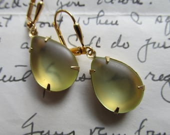Beyond the Sea~ vintage pale yellow tumbled glass drop earrings.