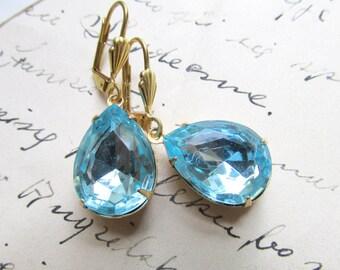 "aqua earrings, vintage aquamarine, rhinestone drop earrings, Downtown Abbey earrings, aqua blue, blue wedding earrings. ""Simplicity""."