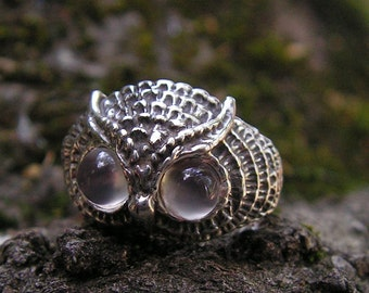 Sterling Silver Owl Ring With Moonstone Eyes