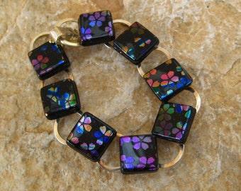 Rainbow Bracelet, Cherry Blossom Bracelet, Fused Glass Bracelet, Dichroic Link Bracelet, Dichroic Bracelet -  Rainbow Cherry Blossom