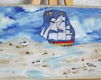 Fabric postcard. Pirate postcard. Seashore fabric postcard.
