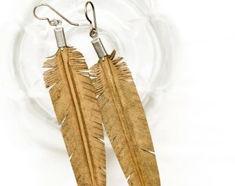 leather feather earrings - hand carved - olive green