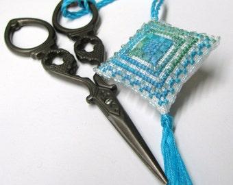 Island Ocean Scissor Fob Ornament Pin Cushion Completed Beaded Cross Stitch Needlework