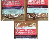 SILVER BACK 3 Size Mix 1/2 inch, 3/8 inch and 5/16 inch Copper Foil Adhesive Silver Backed TAPE for Collage Pendant Jewelry Solder Art