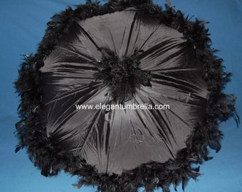34 inch black feather trimmed Umbrella