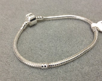 Snake chain Bead Charm Bracelet European Style Silver Plated PS45B