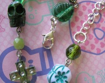 Green Skulls and Green Beads Charm Bracelet