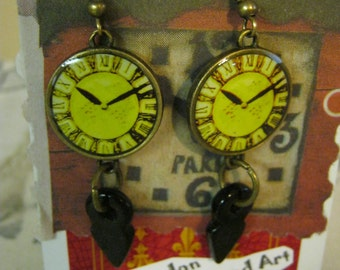 Steampunk Lime Clock Face and Red Glass Earrings