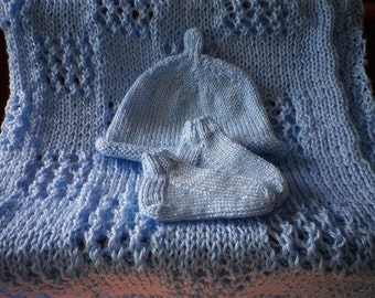 Made to Order Knitted Baby Blanket, Hat and Booties  Free Shipping