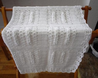 White Crocheted Baby Afghan