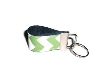 Lime Green Chevron Fabric Keychain