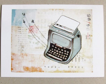 Typewriter Card - Blank Card - Typewriter Blank Card - Don't Forget to Write - Card for Author - Card for Writer - Underwood Typewriter